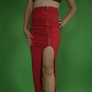 Long, tight, high waist skirt with an open leg slit. New, never worn